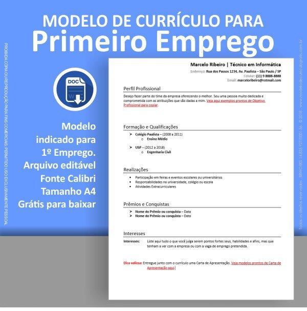 Modelo de Currículo para Primeiro Emprego Pronto para Baixar e Preencher