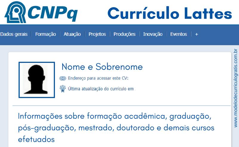 curriculum vitae no padrão lattes/cnpq